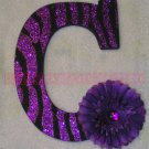 GLITTER ZEBRA STRIPES w Rhinestone Center Flower - single wooden letter