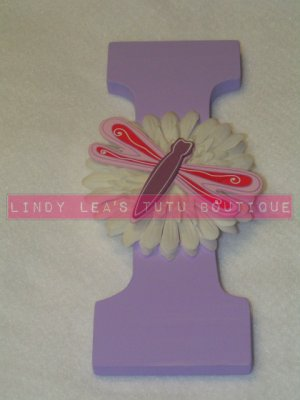 DRAGONFLY on FLOWER - single wooden letter