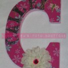 PRETTY PINK FLOWERS - initial with name