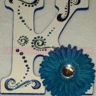 BLUE GLITTERY SWIRLS | you choose Initial