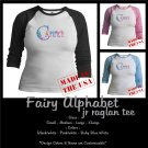 FAIRY ALPHABET | personalizable jr raglan tee