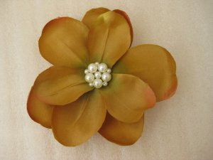 Mustard Gold Wedding Bridal Prom Magnolia Flower Pearl Hair Clip