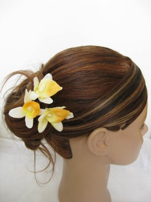 3pc YELLOW Wedding Bridal Bridal Prom Orchid flower bobby pins hair clips