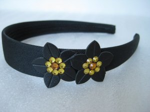 Prom YELLOW Swarovski Crystal Flowers Bling headband