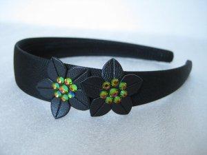 Prom GREEN Swarovski Crystal Flowers Bling headband