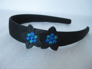 Prom Ocean Blue Swarovski Crystal Flowers Bling headband