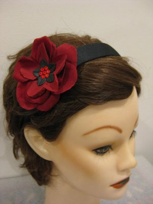 Red Rose Swarovski Crystal Flower Bling headband