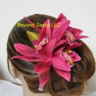 FUCHSIA Wild Cymbidium Orchid silk flower Bridal hair clip