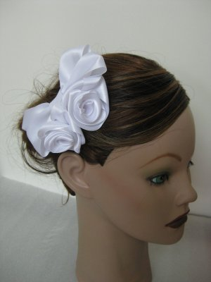 Bridal WHITE Satin Rose Hair Bow Clip Barrette Bridesmaid Prom Flower Girl