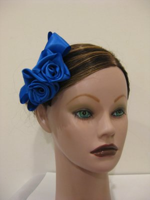 COBALT BLUE Satin Rose Hair Bow Clip Barrette Bridesmaid Prom Flower Girl