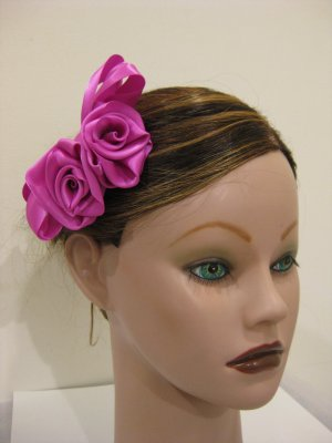 FUCHSIA Satin Rose Hair Bow Clip Barrette Bridesmaid Prom Flower Girl