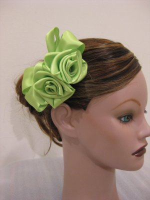 APPLE GREEN Satin Rose Hair Bow Clip Barrette Bridal Prom Flower Girl