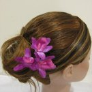 3pc FUCHSIA Wedding Bridal Bridal Prom Orchid flower bobby pins hair clips