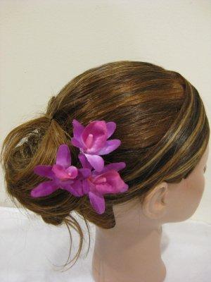 3pc FUCHSIA Wedding Bridal Bridal Prom Orchid flower bobby pins hair clips