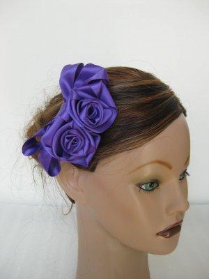 PURPLE Satin Rose Hair Bow Clip Barrette Bridesmaid Prom Flower Girl