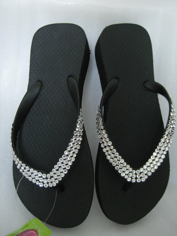 Embellished Swarovski Crystal wedge flip flops Black White Sz 7