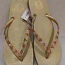 Embellished Swarovski Crystal Flat flip flops Size 9 Gold
