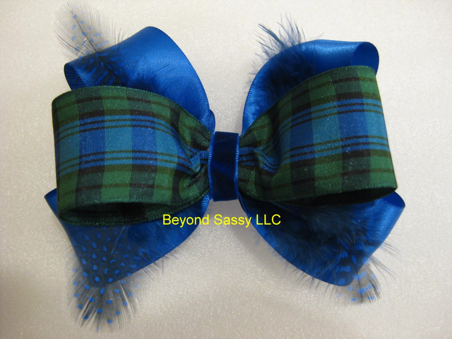 Girls Ladies Christmas ROYAL BLUE Satin Tartan Hair Bow Clip
