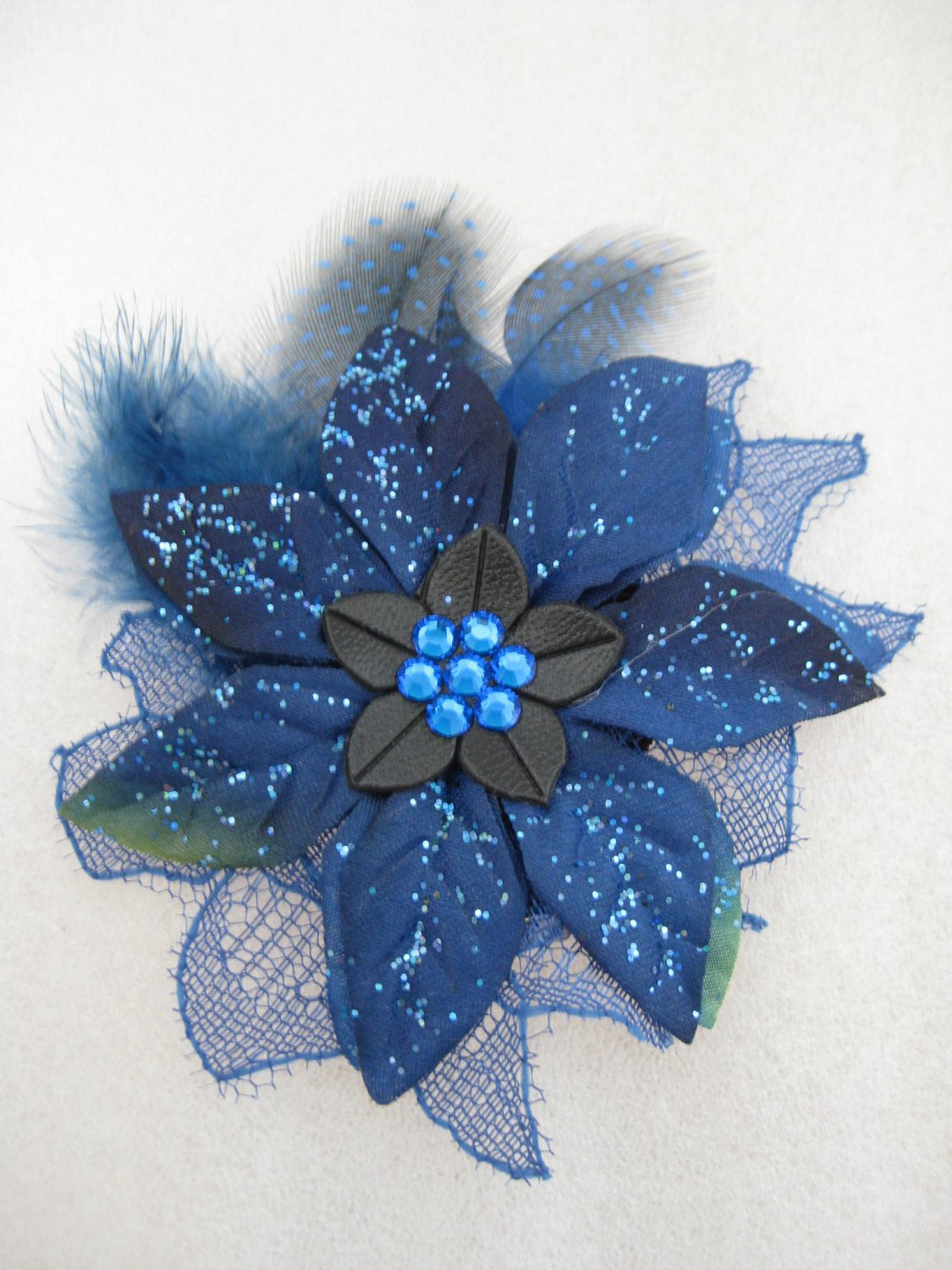 ROYAL BLUE Christmas Crystal Feather Lace Poinsettia Flower Fascinator Hair Hat Clip