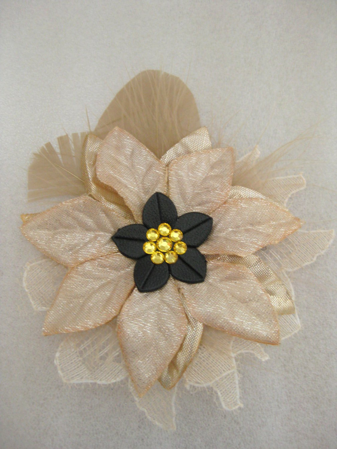 Gold Tan Christmas Crystal Feather Lace Poinsettia Flower Fascinator Hair Hat Clip