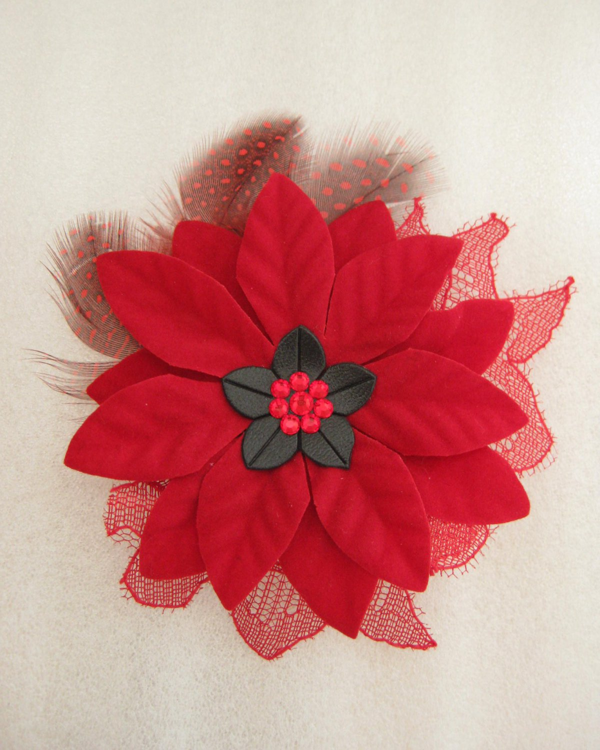 RED Christmas Crystal Feather Lace Poinsettia Flower Fascinator Hair Hat Clip