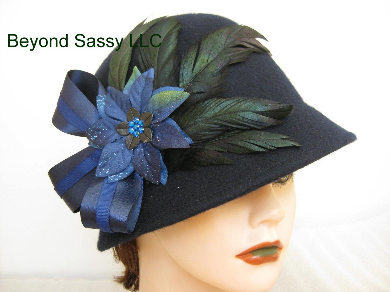 Navy Blue Chrismas Crystal Poinsettia Flower Cloche Derby Church Wool Hat