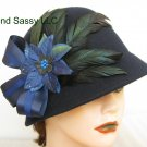 Navy Blue Chrismas Crystal Poinsettia Flower Cloche Derby Church Wool Hat