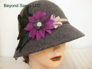 Charcoal Grey Purple Chrismas Crystal Poinsettia Flower Cloche Derby Church Wool Hat