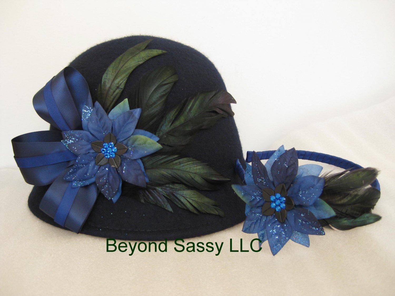 Mother Daughter Navy Blue Chrismas Crystal Poinsettia Flower Cloche Derby Church Wool Hat & Headband