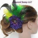Mardi Gras Bridesmaid Prom Purple Flower Crystal Fascinator Hair Clip