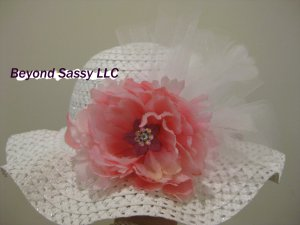 Girls Spring Easter White Derby Style Swarovski Crystal Pink Flower Feather Hat
