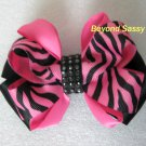 Girls Zebra Hot Pink Black Boutique Rhinestone Bling Hair Bow Barrette Clip