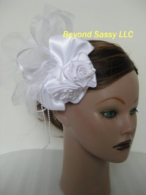 Wedding Bridal First Communion White Satin Rose Hair Bow Pouf Headpiece Barrette Clip