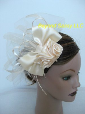 Wedding Bridal Prom Ivory Satin Rose Hair Bow Pouf Headpiece Barrette Clip