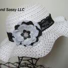 Lace Band Easter Bonnet Toddler Girls Black White Hat Swarovski Crystal Flower