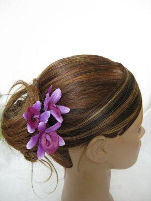 3pc PURPLE Wedding Bridal Bridal Prom Orchid flower bobby pins hair clips