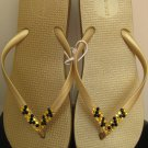 Embellished Swarovski Crystal METALLIC GOLD Flat Flip Flops LIGHT Topaz Leopard Style Sz 10