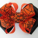 Girls Halloween Spider Web Rhinestone Hair Bow Barrette Orange Black