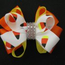 Girls Halloween Candy Corn Rhinestone Hair Bow Barrette Orange Yellow