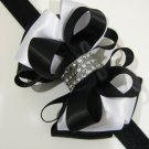 Holiday 2-tone Black White Elegant Boutique Rhinestone Hair Bow XMAS Headband