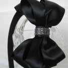 Girls Lady Christmas Holiday Wedding Rhinestone Black Hair Bow Headband