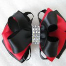 Holiday 2-tone Red Black Elegant Boutique Rhinestone Hair Bow XMAS Barrette