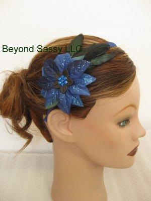 Girls Ladies XMAS Swarovski Crystal Royal Blue Poinsettia Flower Feather Ribbon Headband