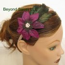 Girls Ladies XMAS Swarovski Crystal PURPLE Poinsettia Flower Feather Ribbon Headband