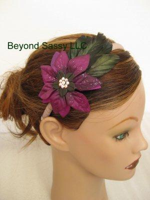 Girls Ladies XMAS Swarovski Crystal PURPLE Poinsettia Flower Feather Ribbon Headband