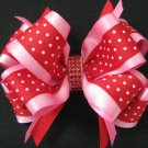 Girl Valetines Day Polka Dot RED PINK Rhinestone Hair Bow Clip Barrette