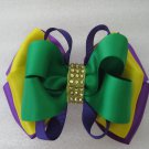 Girls Mardi Gras Elegant Boutique Rhinestone Hair Bow Clip Barrette
