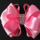 Girls Easter Spring Elegant Pink Boutique Rhinestone Hair Bow Clip Barrette