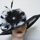 Black White Stripe Kentucky Derby Church Dress Wide Brim Hat Swarovski Crystal Flower