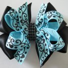 "Ocean Blue Black 4"" Boutique Scroll Girls Two Tone Hair Bow Clip Rhinestone Bling"